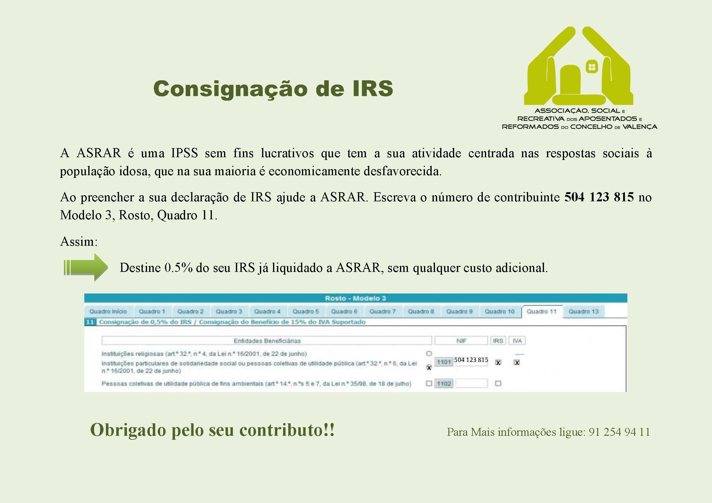 Consignação de IRS 2019